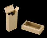 "3658 - 4 5/16"" x 2 1/4"" x 1"" Brown/Brown, Double Favor Box with window. B02"