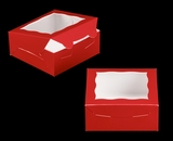 "3660 - 6"" x 6"" x 2 1/2"" Red/White with Window, Lock & Tab Box With Lid. B09"