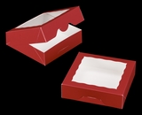 "3661 - 9"" x 9"" x 2 1/2"" Red/White Timesaver Cookie Box with Window"