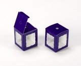 "3669 - 1 3/4"" x 1 3/4"" x 2"" Purple/White Single Cake Pop Box. B02"