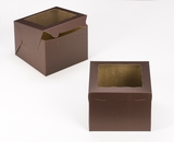 "3672 - 8"" x 8"" x 6"" Chocolate/Brown with Window, Lock & Tab Box With Lid. A23"