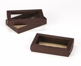 "3673x3674 - 7"" x 4 3/8"" x 1 1/4"" Chocolate/Brown Two Piece Simplex Box Set, with Window"