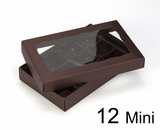 "3673x3674x3361 - 7"" x 4 3/8"" x 1 1/4"" Chocolate/Brown Two Piece Simplex Box with Window, and 12 Cavity Tray Set"