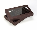 "3673x3674x3361 - 7"" x 4 3/8"" x 1 1/4"" Chocolate/Brown Two Piece Simplex Box with Window, and 12 Cavity Tray Set. B05xB04xB02"