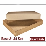"3690x3705 - 26"" x 18"" x 4"" Brown/Brown Lock & Tab Corrugated Base, Paperboard Lid without Window Set"