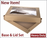 "3690x3884 - 26"" x 18"" x 4"" Brown/Brown Lock & Tab Corrugated Base, Paperboard Lid with Window Set, 25 COUNT. A24xA13"