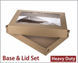 "3690x3884 - 26"" x 18"" x 4"" Brown/Brown Lock & Tab Full Sheet Cake Box Set, Corrugated Base, Paperboard Lid with Window, 25 COUNT"