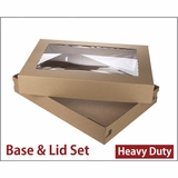 "3690x3884 - 26"" x 18"" x 4"" Brown/Brown Lock & Tab Corrugated Base, Paperboard Lid with Window Set"