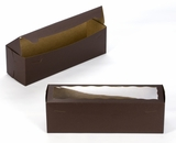 "3693 - 13"" x 4"" x 4"" Chocolate Brown/Brown with Window, One Piece Lock & Tab Box With Lid. A14"