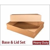 "3703x3708 - 19"" x 14"" x 4"" Brown/Brown Lock & Tab Corrugated Base, Paperboard Lid without Window Set"