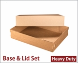"3703x3708 - 19"" x 14"" x 4"" Brown/Brown Lock & Tab Corrugated Base, Paperboard Lid without Window Set, 50 COUNT. A32xA18"