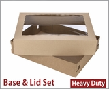 "3703x3710 - 19"" x 14"" x 4"" Brown/Brown Lock & Tab Corrugated Base, Paperboard Lid with Window Set, 50 COUNT"
