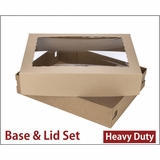 "3703x3710 - 19"" x 14"" x 4"" Brown/Brown Lock & Tab Corrugated Base, Paperboard Lid with Window Set"