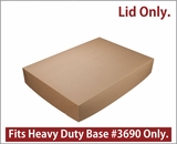 "3705 - 26"" x 18"" x 4"" Brown/Brown Lock & Tab Paperboard Lid without Window Only, 25 COUNT. A16"