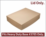 "3708 - 19"" x 14"" x 4"" Brown/Brown Lock & Tab Paperboard Lid without Window Only, 50 COUNT. A18"