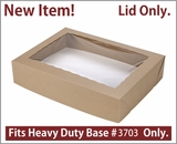 "3710 - 19"" x 14"" x 4"" Brown/Brown Lock & Tab Paperboard Lid Only, with Window, 50 COUNT. A14"