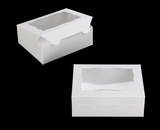 "3719 - 7"" x 5 1/2"" x 2 1/2"" White/White with Window, Lock & Tab Box with Lid. A10"