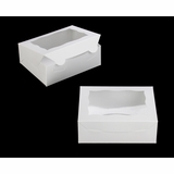 "3719 - 7"" x 5 1/2"" x 2 1/2"" White/White with Window, Lock & Tab Box with Lid"