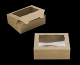 "3720 - 7"" x 5 1/2"" x 2 1/2"" Brown/Brown with Window, Lock & Tab Box with Lid. A08"