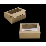"3720 - 7"" x 5 1/2"" x 2 1/2"" Brown/Brown with Window, Lock & Tab Box with Lid"