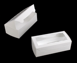 "3722 - 8"" x 4"" x 2 1/2"" White/White with Window, One Piece Lock & Tab Box With Lid. B09"