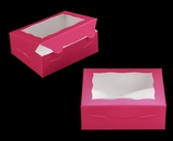 "3725 - 7"" x 5 1/2"" x 2 1/2"" Pink/White with Window, Lock & Tab Box with Lid. A10"