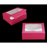 "3725 - 7"" x 5 1/2"" x 2 1/2"" Pink/White with Window, Lock & Tab Box with Lid"