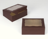 "3726 - 7"" x 5 1/2"" x 2 1/2"" Chocolate/Brown with Window, Lock & Tab Box with Lid. A09"