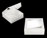"3749 - 9"" x 9"" x 3"" White/White Lock & Tab Box with Window. A20"