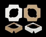"3751 - 4"" x 4"" x 1 1/16""  Single Jumbo Cupcake Insert, Reversible White/Brown"