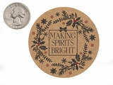 "3756 - 2 1/2"" Making Spirits Bright Favor Label, on Kraft, 50 Count. F01"