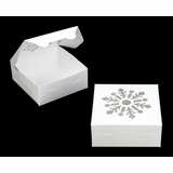 "3757 - 6"" x 6"" x 2 1/2"" White/White Snowflake Window, Lock & Tab Holiday Box, 50 Count"