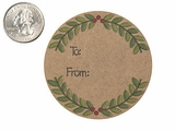 "3763 - 2 1/2"" To: From: Wreath Favor Label, on Kraft, 50 Count. F01"
