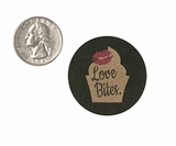 "3774 - 1 1/2"" Love Bites, Favor Label, on Kraft, 50 Count. F01"
