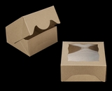 "3784 - 5"" x 5"" x 2 1/2"" Brown/Brown Timesaver Box with Window"