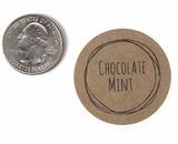 "3810 - 1 1/2"" Chocolate Mint Flavor Label, 50 Count. F01"