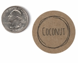 "3814 - 1 1/2"" Coconut Flavor Label, 50 Count. F01"
