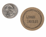 "3817 - 1 1/2"" German Chocolate Flavor Label, 50 Count. F01"