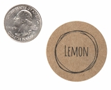 "3819 - 1 1/2"" Lemon Flavor Label, 50 Count. F01"