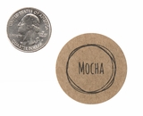 "3821 - 1 1/2"" Mocha Flavor Label, 50 Count. F01"