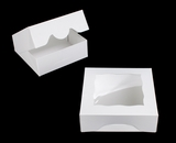 "3842 - 7"" x 7"" x 2 1/2"" White/White with Window, Timesaver Box With Lid. A16"
