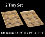 "3857x3857 - 2 pack set Gold 6 Cavity Tray  9 1/2"" x 6"" x 15/16"" . D03xD03"