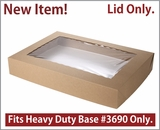 "3884 - 26"" x 18"" x 4"" Brown/Brown Lock & Tab Paperboard Lid with Window, Only, 25 COUNT. A13"