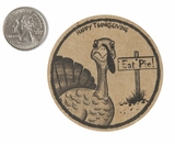"3907 - 2 1/2"" Happy Thanksgiving, Favor Label, on Kraft, 50 Count. F01"