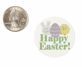 "3941 - 1 1/2"" Happy Easter, Favor Label, on White, 50 Count. F01"