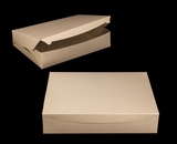 "3958 - 19"" x 14"" x 4"" Brown/Brown Lock & Tab Half Sheet Cake Box without Window"