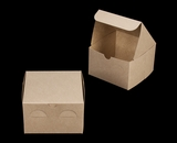 "3976 - 6"" x 6"" x 4"" Brown/Brown without Window, Lock & Tab Box with Lid"