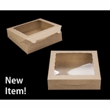 "3979 - 10"" x 10"" x 2 1/2"" Brown/Brown with Window, Lock & Tab Box with Lid"