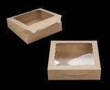 "3979 - 10"" x 10"" x 2 1/2"" Brown/Brown with Window, Lock & Tab Box with Lid. A18"