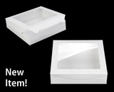"3980 - 10"" x 10"" x 2 1/2"" White/White with Window, Lock & Tab Box with Lid. A21"